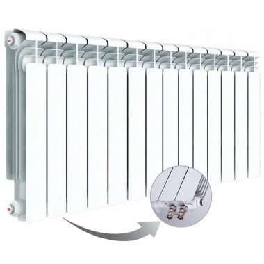Алюминиевый радиатор Rifar Alum Ventil 500, 14 секций, с нижним левым подключением