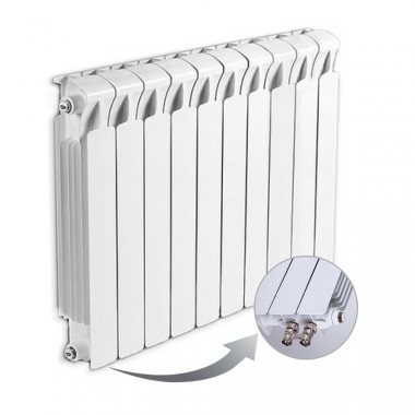 Биметаллический радиатор Rifar Monolit Ventil 500, 10 секций, с нижним правым подключением