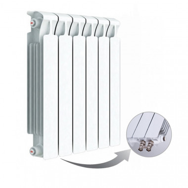 Биметаллический радиатор Rifar Monolit Ventil 500, 6 секций, с нижним левым подключением